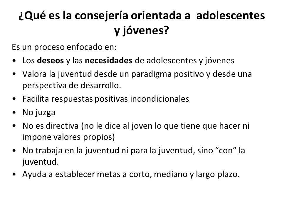 ¿Qué es la consejería orientada a adolescentes y jóvenes? Es un proceso enfocado en: Los deseos y las necesidades de adolescentes y jóvenes Valora la