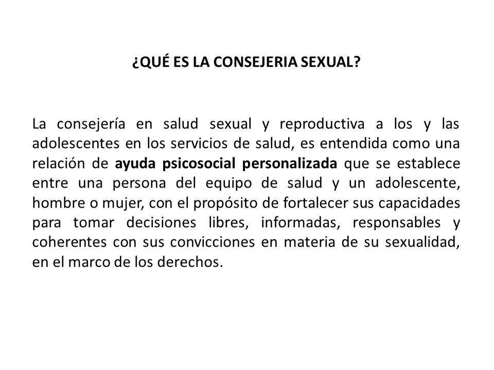 La consejería en salud sexual y reproductiva a los y las adolescentes en los servicios de salud, es entendida como una relación de ayuda psicosocial p
