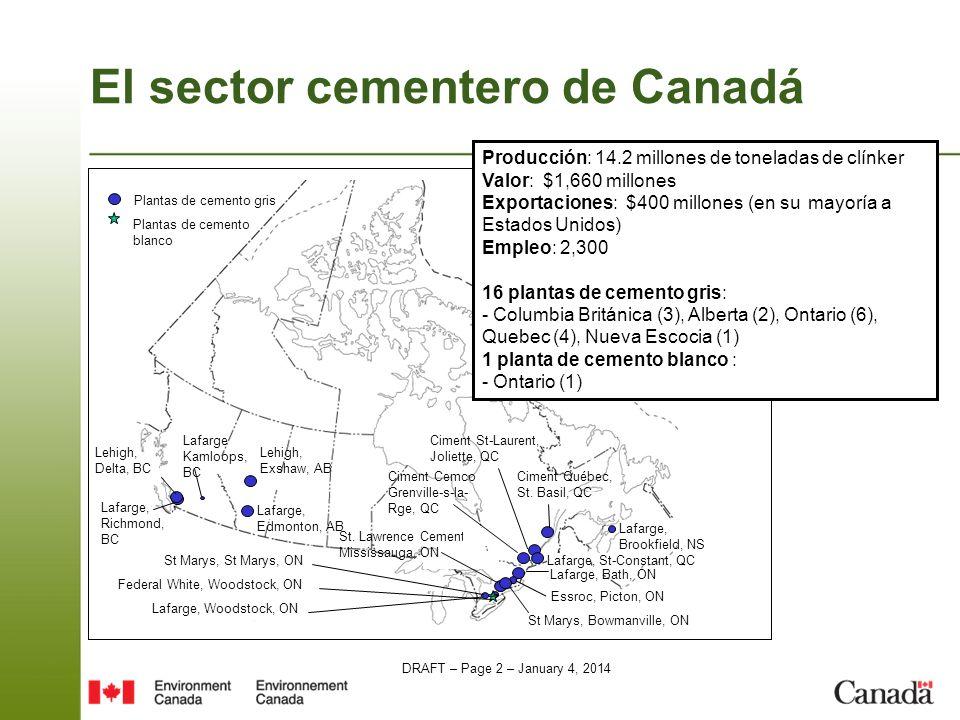 DRAFT – Page 3 – January 4, 2014 El sector cementero canadiense 17 plantas cementeras en todo el país: –16 producen cemento gris; –1 produce cemento blanco.