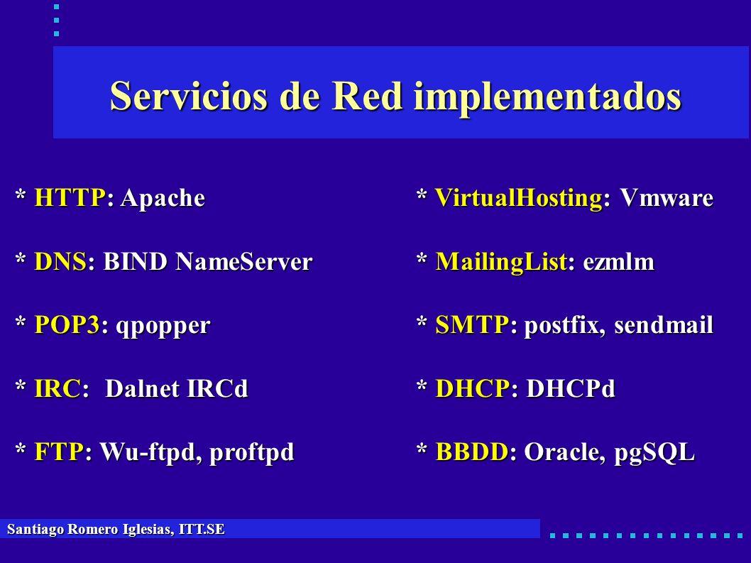 Servicios de Red implementados Santiago Romero Iglesias, ITT.SE * HTTP: Apache * DNS: BIND NameServer * POP3: qpopper * IRC: Dalnet IRCd * FTP: Wu-ftp