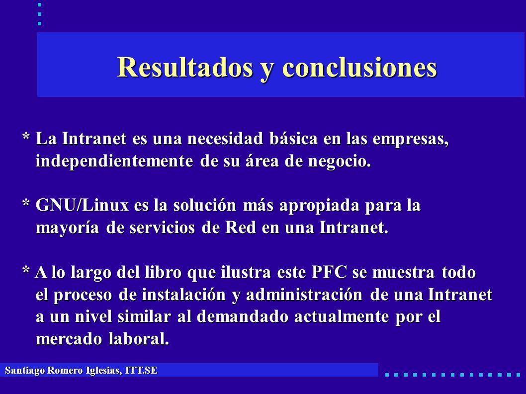 Resultados y conclusiones Santiago Romero Iglesias, ITT.SE * La Intranet es una necesidad básica en las empresas, independientemente de su área de neg