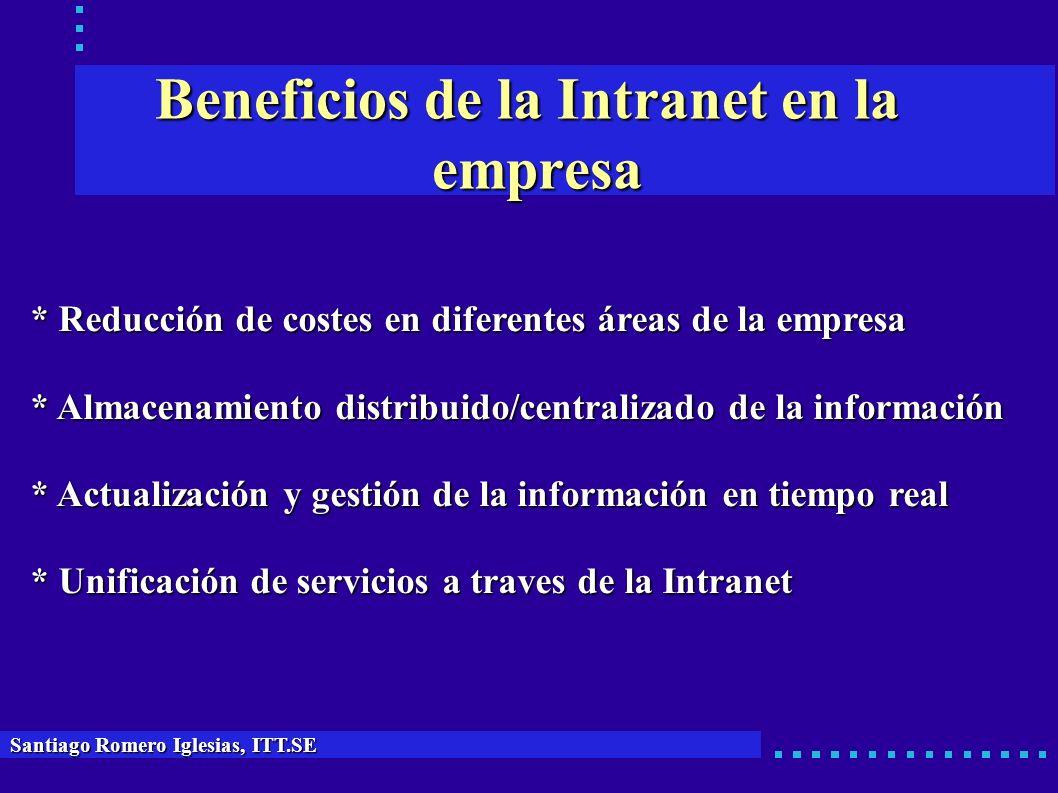 Beneficios de la Intranet en la empresa * Reducción de costes en diferentes áreas de la empresa * Almacenamiento distribuido/centralizado de la inform