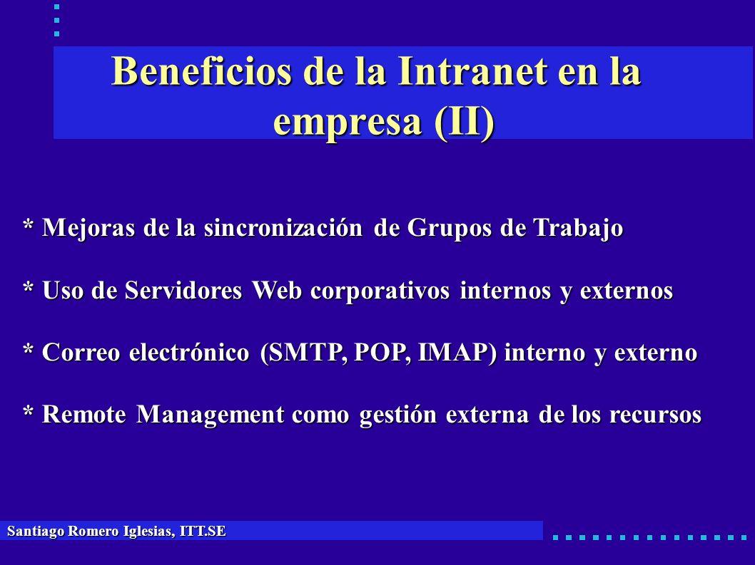 Beneficios de la Intranet en la empresa (II) * Mejoras de la sincronización de Grupos de Trabajo * Uso de Servidores Web corporativos internos y exter