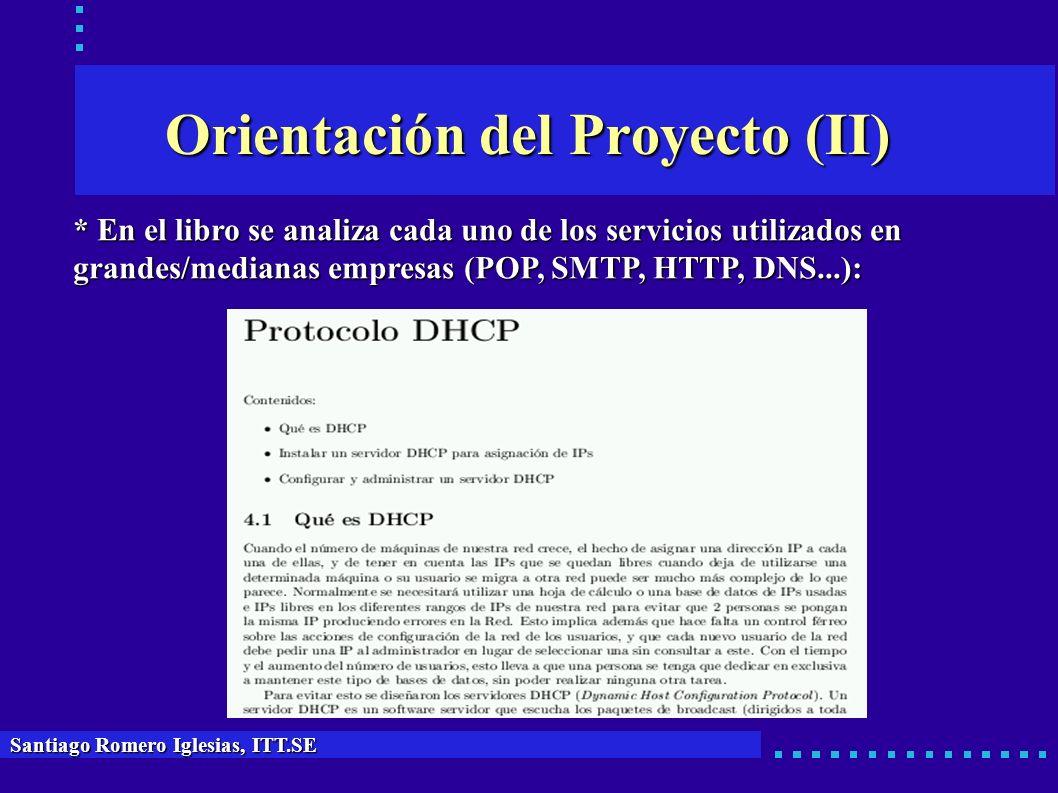 Orientación del Proyecto (II) * En el libro se analiza cada uno de los servicios utilizados en grandes/medianas empresas (POP, SMTP, HTTP, DNS...): Sa
