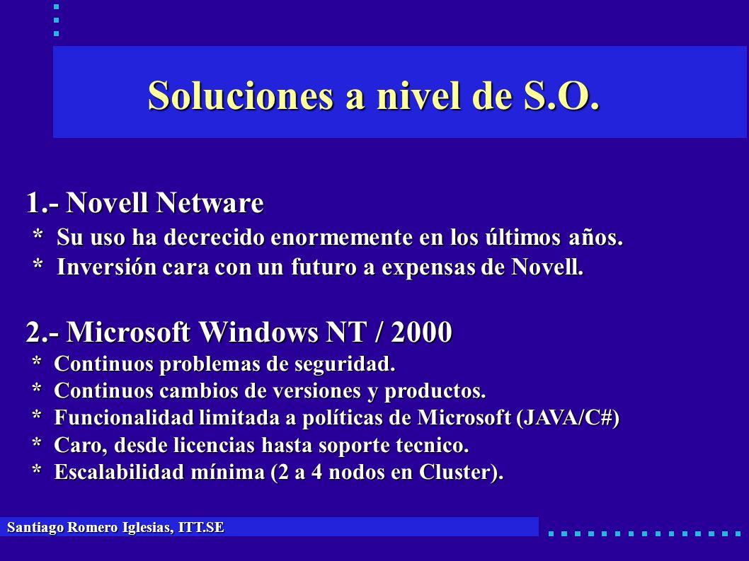 Soluciones a nivel de S.O. Santiago Romero Iglesias, ITT.SE 1.- Novell Netware * Su uso ha decrecido enormemente en los últimos años. * Su uso ha decr