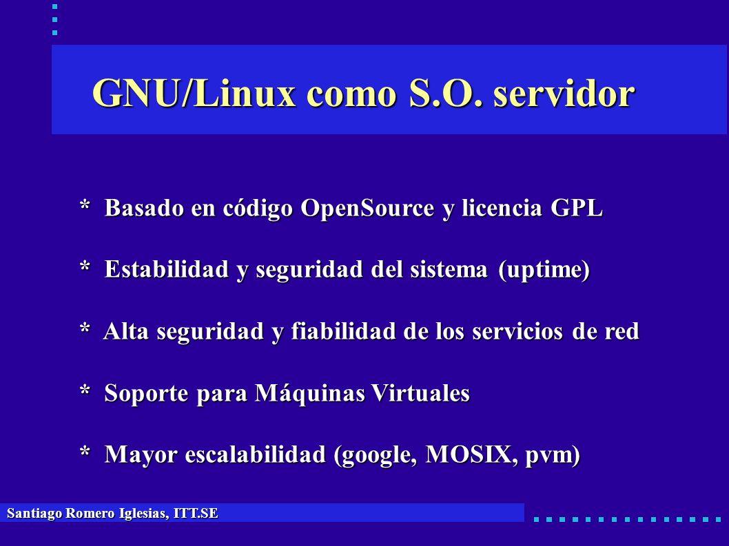 GNU/Linux como S.O. servidor Santiago Romero Iglesias, ITT.SE * Basado en código OpenSource y licencia GPL * Estabilidad y seguridad del sistema (upti