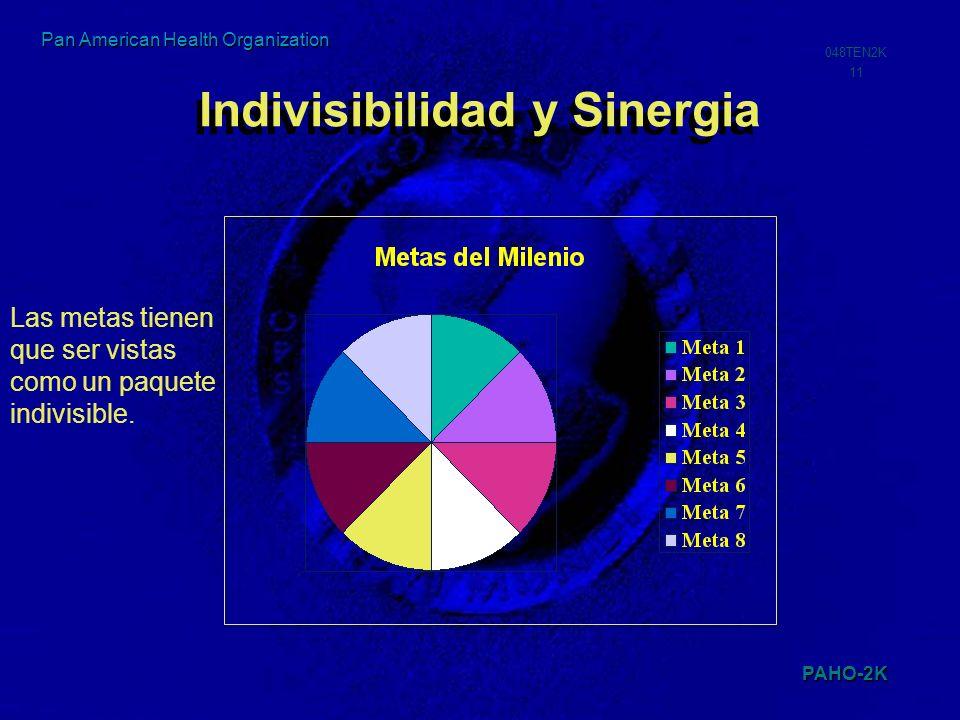 PAHO-2K 048TEN2K 11 Pan American Health Organization Indivisibilidad y Sinergia Las metas tienen que ser vistas como un paquete indivisible.