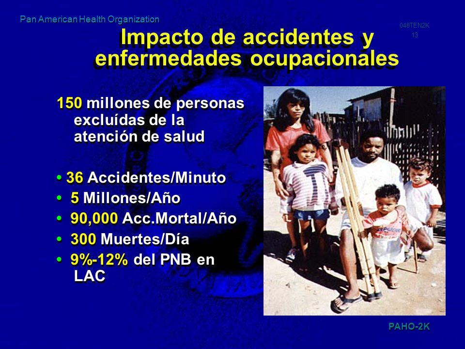 PAHO-2K 048TEN2K 13 Pan American Health Organization 150 millones de personas excluídas de la atención de salud 36 Accidentes/Minuto 5 Millones/Año 90