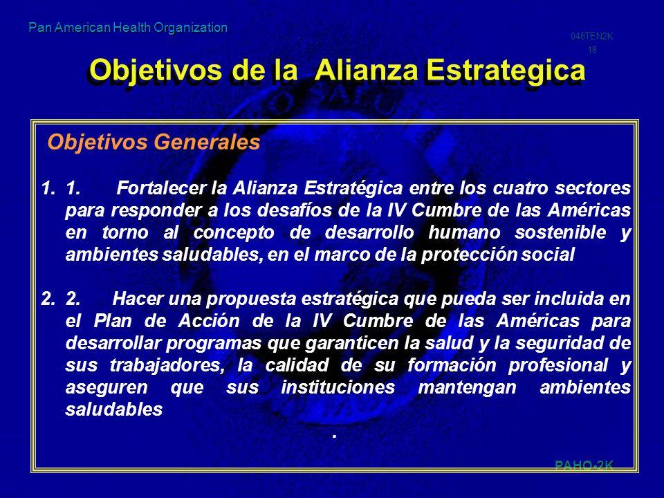 PAHO-2K 048TEN2K 18 Pan American Health Organization Objetivos de la Alianza Estrategica Objetivos Generales 1.1. Fortalecer la Alianza Estratégica en