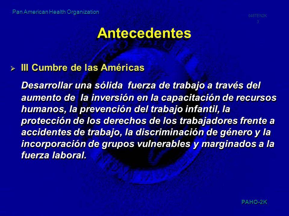 PAHO-2K 048TEN2K 14 Pan American Health Organization Programa 2005 para la Alianza Estratégica Interministerial Reunión de Grupo de Trabajo II (Abril 11-12) XIV CIMT México Septiembre 2005 Alianza Estratégica: Sesión del Ministro de Trabajo (CIMT) y el Ministro de Educaci[on (CIE) en la reunion ministerial de los Ministros de Salud y Ambiente en el contexto de la IV Cumbre de las Américas Fecha: Junio 17-18 Buenos Aires Argentina Grupo de Trabajo de la Alianza Estratégica 46 Consejo Directivo de la OPS Septiembre 2005 XVII Congreso Mundial de Seguridad y Salud en el Trabajo Septiembre 2005 Reunión Técnica Interministerial en el contexto de la CIE Mayo 2005 Washington, D.C Segunda Reunión Técnica Interministerial Junio 11 Mar del Plata Argentina Reunión Preparatoria de la XIV CIMT (Enero 31 a Febrero 1)