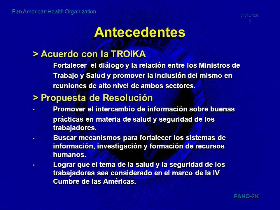 PAHO-2K 048TEN2K 16 Pan American Health Organization Estadísticas Trabajo y Salud OIT (1999) Mundial 250 mill.