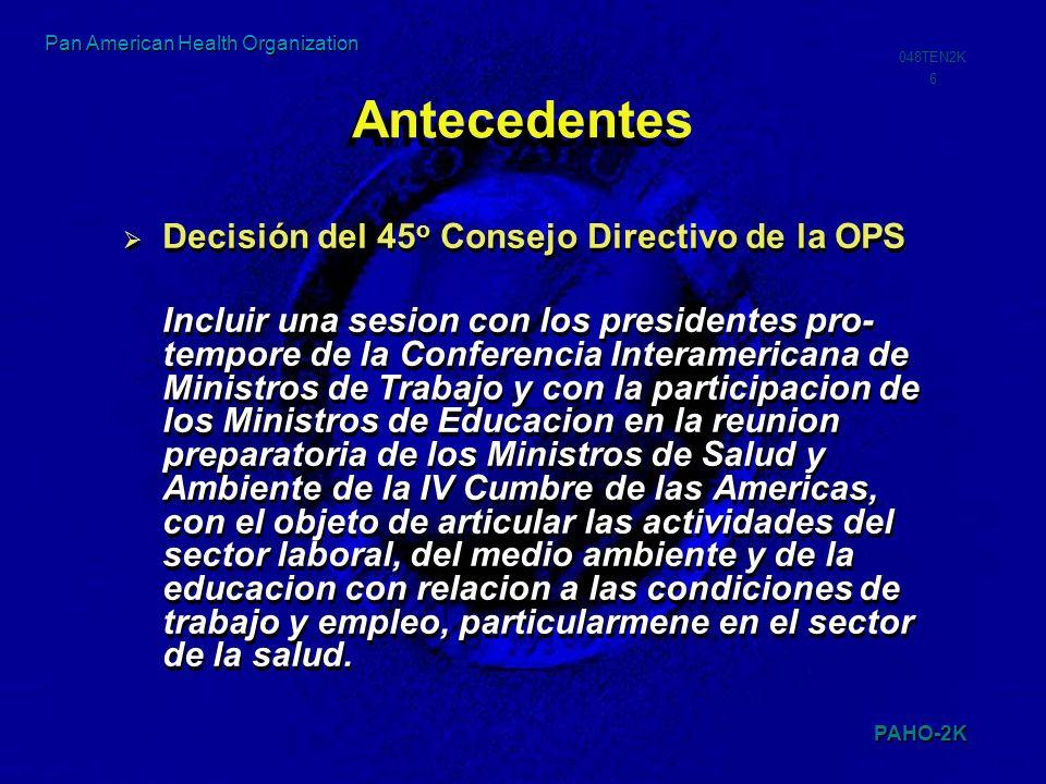 PAHO-2K 048TEN2K 7 Pan American Health Organization Antecedentes Intervención de las Autoridades de México, Canadá, Argentina, Brasil, El Salvador entre otros.
