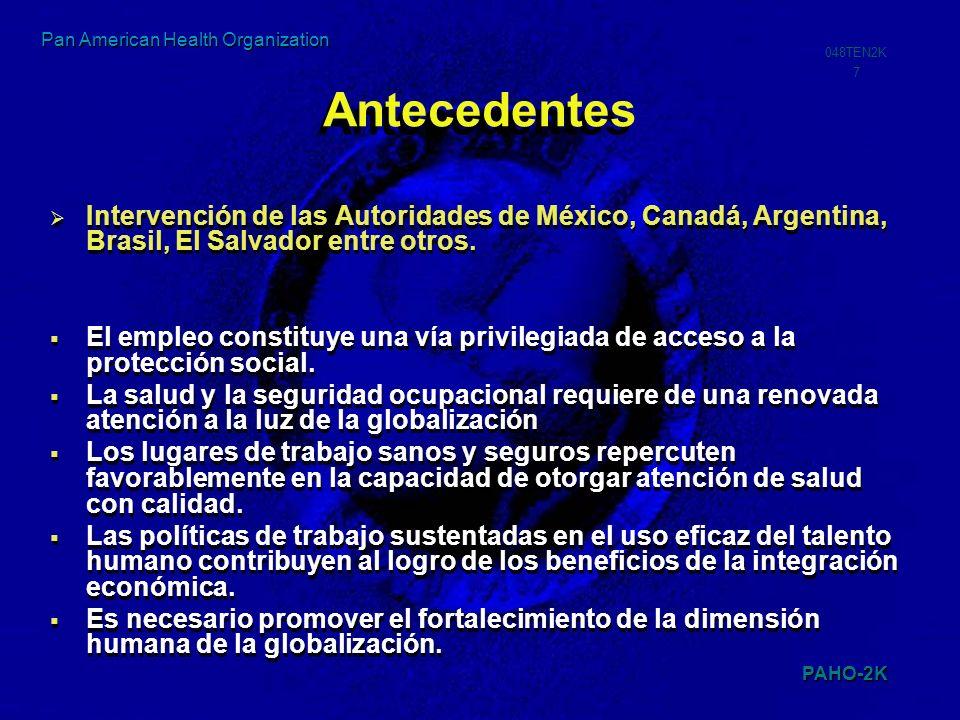 PAHO-2K 048TEN2K 7 Pan American Health Organization Antecedentes Intervención de las Autoridades de México, Canadá, Argentina, Brasil, El Salvador ent
