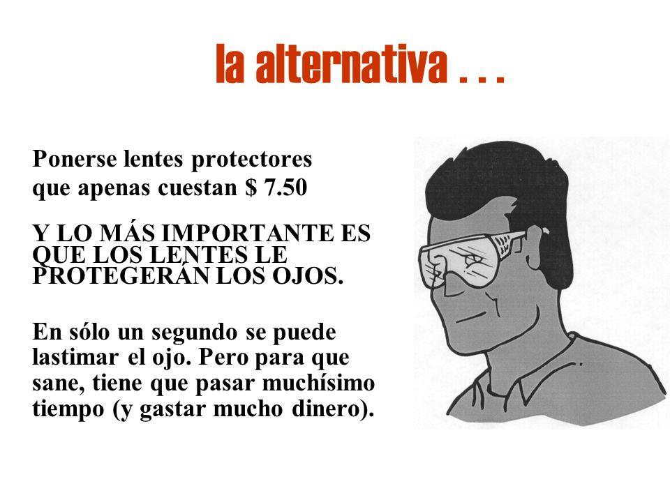 la alternativa... Ponerse lentes protectores que apenas cuestan $ 7.50 Y LO MÁS IMPORTANTE ES QUE LOS LENTES LE PROTEGERÁN LOS OJOS. En sólo un segund