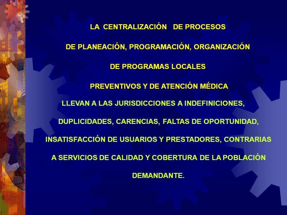 LLEVAN A LAS JURISDICCIONES A INDEFINICIONES, DUPLICIDADES, CARENCIAS, FALTAS DE OPORTUNIDAD, INSATISFACCIÓN DE USUARIOS Y PRESTADORES, CONTRARIAS A S