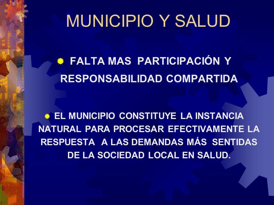 MUNICIPIO Y SALUD FALTA MAS PARTICIPACIÓN Y RESPONSABILIDAD COMPARTIDA EL MUNICIPIO CONSTITUYE LA INSTANCIA NATURAL PARA PROCESAR EFECTIVAMENTE LA RES