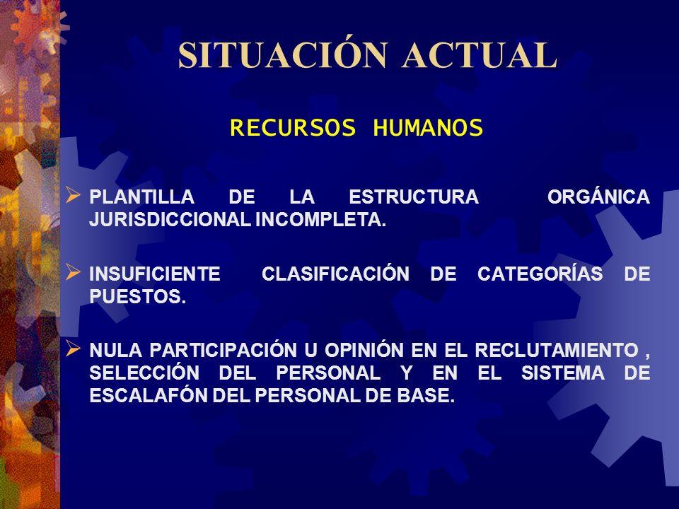 SITUACIÓN ACTUAL RECURSOS HUMANOS PLANTILLA DE LA ESTRUCTURA ORGÁNICA JURISDICCIONAL INCOMPLETA. INSUFICIENTE CLASIFICACIÓN DE CATEGORÍAS DE PUESTOS.