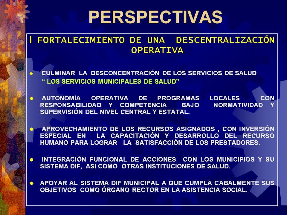 PERSPECTIVAS I FORTALECIMIENTO DE UNA DESCENTRALIZACIÓN OPERATIVA CULMINAR LA DESCONCENTRACIÓN DE LOS SERVICIOS DE SALUD LOS SERVICIOS MUNICIPALES DE
