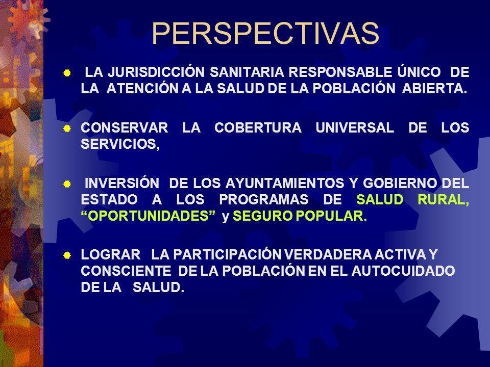 PERSPECTIVAS LA JURISDICCIÓN SANITARIA RESPONSABLE ÚNICO DE LA ATENCIÓN A LA SALUD DE LA POBLACIÓN ABIERTA. CONSERVAR LA COBERTURA UNIVERSAL DE LOS SE