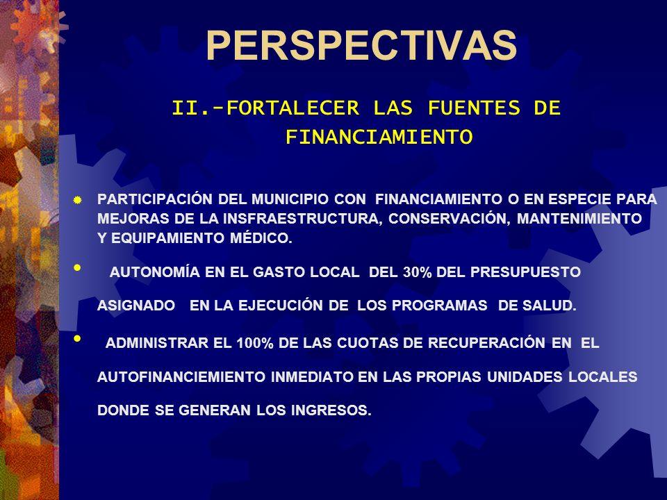 PERSPECTIVAS II.-FORTALECER LAS FUENTES DE FINANCIAMIENTO PARTICIPACIÓN DEL MUNICIPIO CON FINANCIAMIENTO O EN ESPECIE PARA MEJORAS DE LA INSFRAESTRUCT