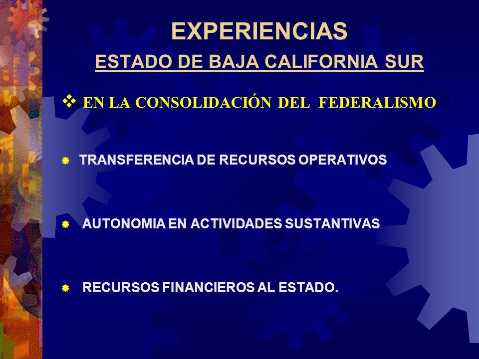 EXPERIENCIAS ESTADO DE BAJA CALIFORNIA SUR EN LA CONSOLIDACIÓN DEL FEDERALISMO TRANSFERENCIA DE RECURSOS OPERATIVOS AUTONOMIA EN ACTIVIDADES SUSTANTIV