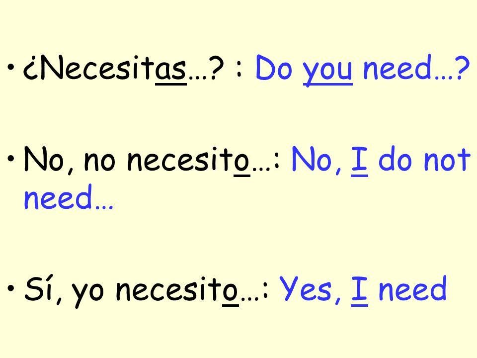 ¿Necesitas…? ¿ Necesitas una carpeta para la clase de Español? No, no necesito una carpeta para la clase de Español. Sí, yo necesito una carpeta.