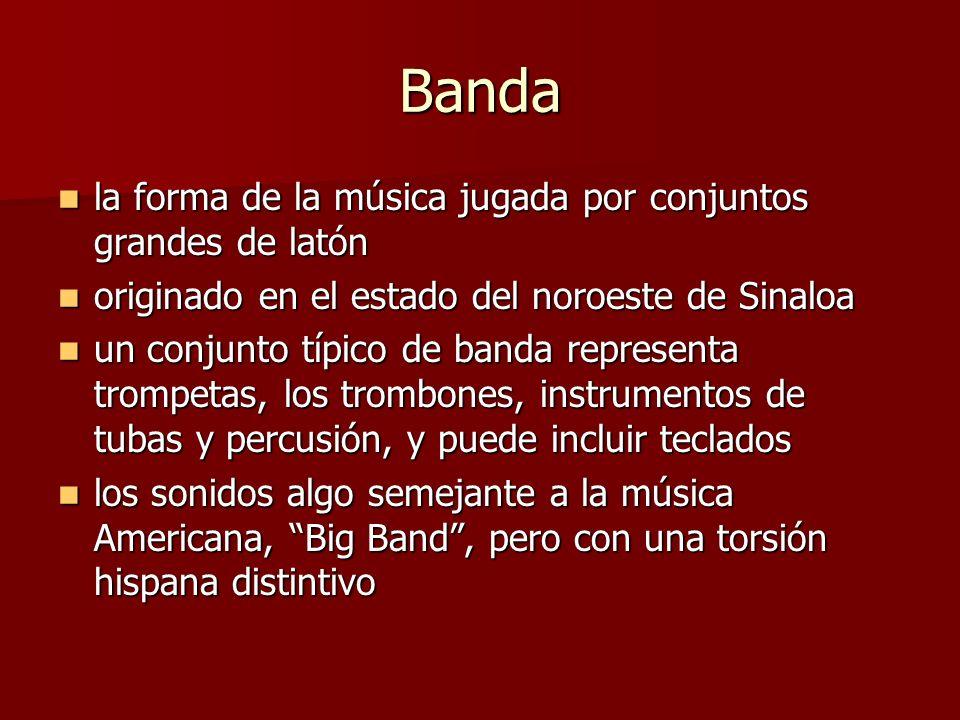 Banda la forma de la música jugada por conjuntos grandes de latón la forma de la música jugada por conjuntos grandes de latón originado en el estado d