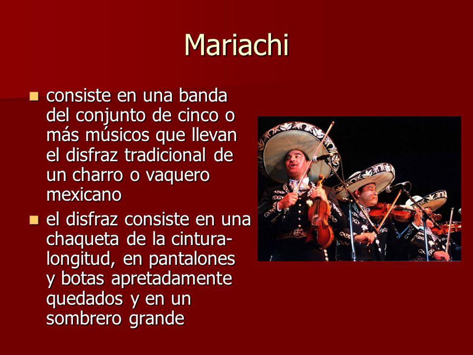Mariachi consiste en una banda del conjunto de cinco o más músicos que llevan el disfraz tradicional de un charro o vaquero mexicano consiste en una b