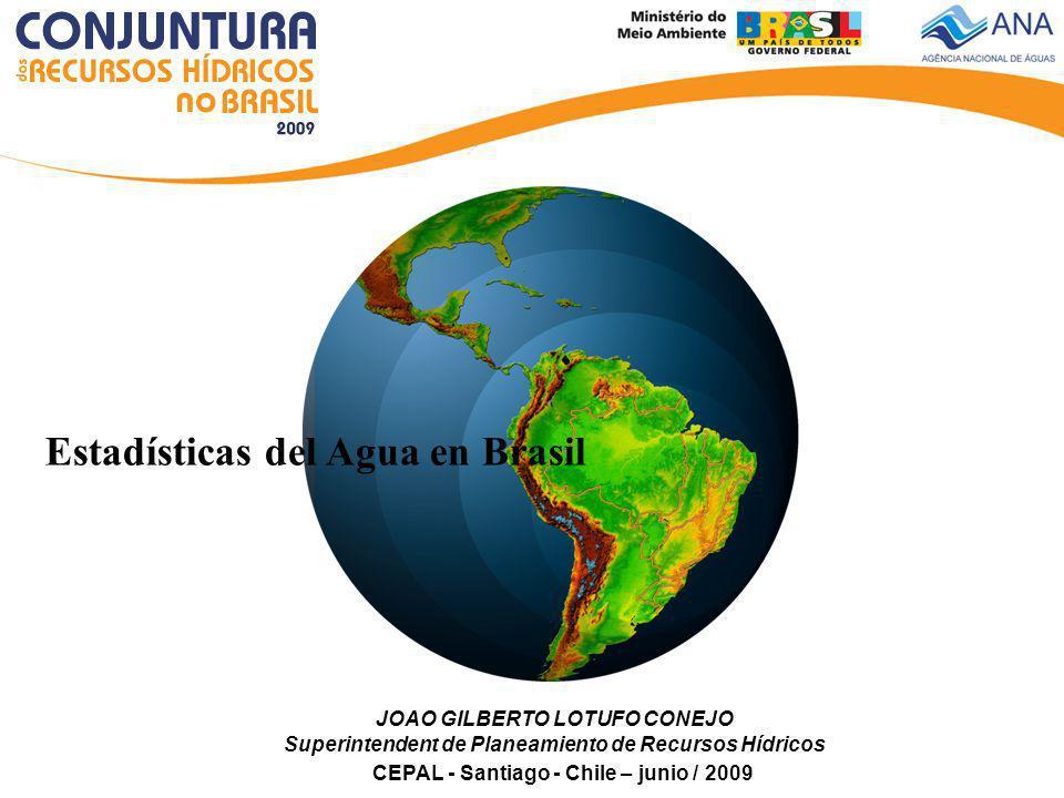 Marcos de la Política Nacional de los Recursos Hídricos en Brasil Constitución Federal de 1988 define la gestión de los recursos hídricos con la división de los domínios de las aguas – Federal, Estados y Distrito Federal prevista la creación de lo Sistema Nacional de Gestión de los Recursos Hídricos (SINGREH).