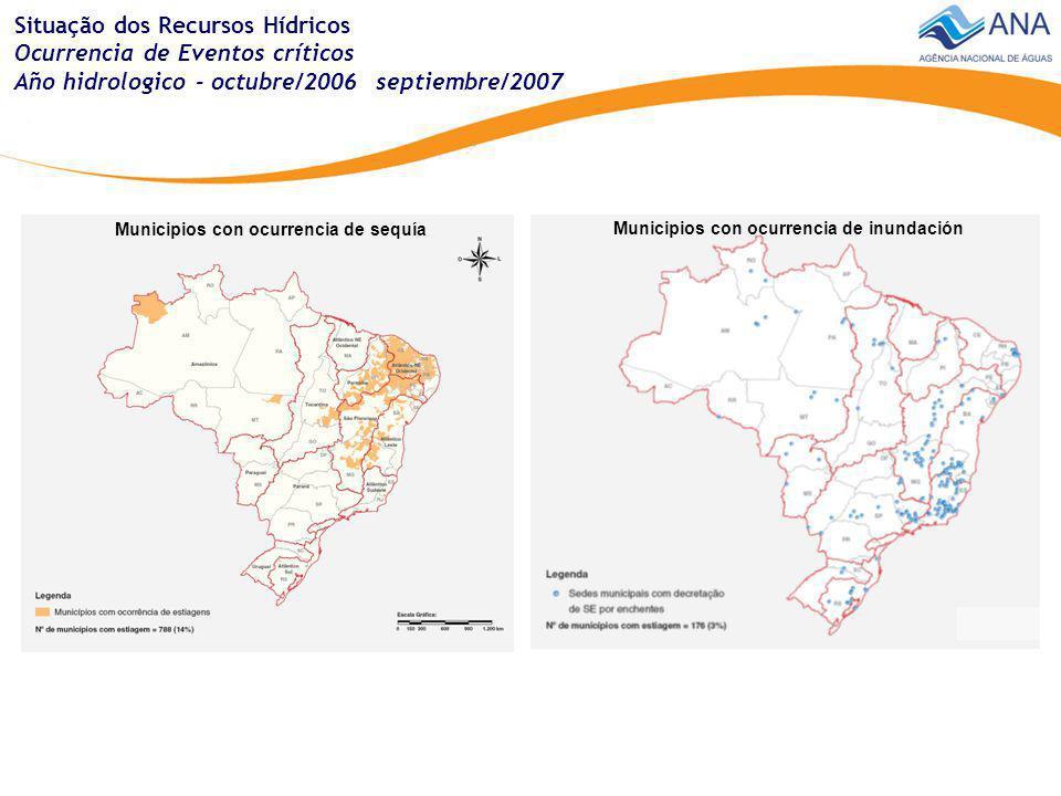 Situación de los Recursos Hídricos Demanda del agua - irrigación Demanda total - irrigación - Brasil Média anual = 861 m 3 /s Média del periodo seco = 1168 m 3 /s Máxima mensual del periodo seco = 2579 m 3 /s Área con irrigación Brasil = 4,6 millones (hectáreas)