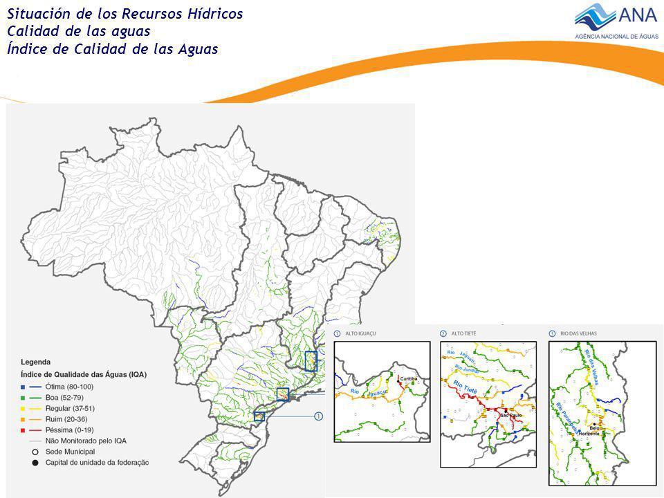 Região Metropolitana Distribuición percentual de la extensión de los principales rios de Brasil Situación de los Recursos Hídricos Calidad de las aguas Capacidad de asimilación de los rios Aguas residuales