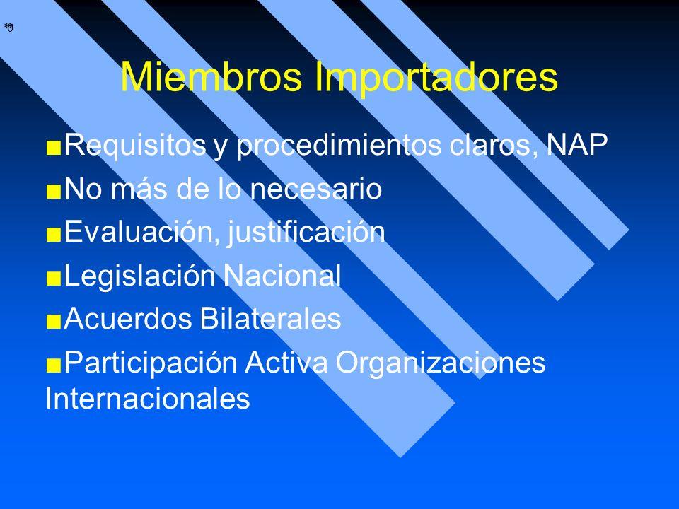 * * 0 Miembros Importadores Requisitos y procedimientos claros, NAP No más de lo necesario Evaluación, justificación Legislación Nacional Acuerdos Bil
