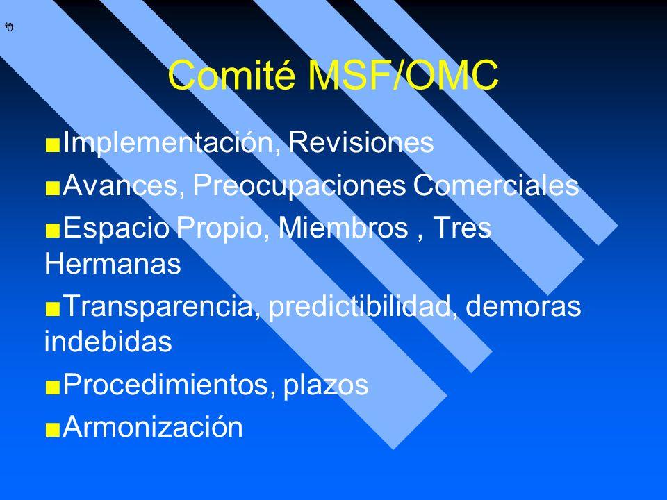 * * 0 Comité MSF/OMC Implementación, Revisiones Avances, Preocupaciones Comerciales Espacio Propio, Miembros, Tres Hermanas Transparencia, predictibil