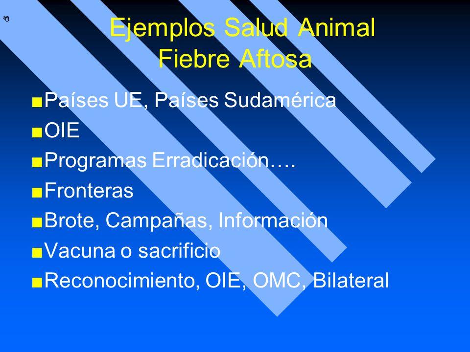 * * 0 Ejemplos Salud Animal Fiebre Aftosa Países UE, Países Sudamérica OIE Programas Erradicación…. Fronteras Brote, Campañas, Información Vacuna o sa