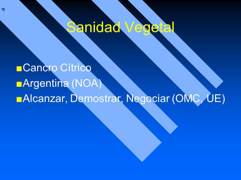 * * 0 Sanidad Vegetal Cancro Cítrico Argentina (NOA) Alcanzar, Demostrar, Negociar (OMC, UE)