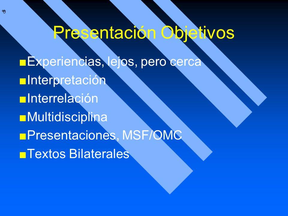 * * 0 Presentación Objetivos Experiencias, lejos, pero cerca Interpretación Interrelación Multidisciplina Presentaciones, MSF/OMC Textos Bilaterales