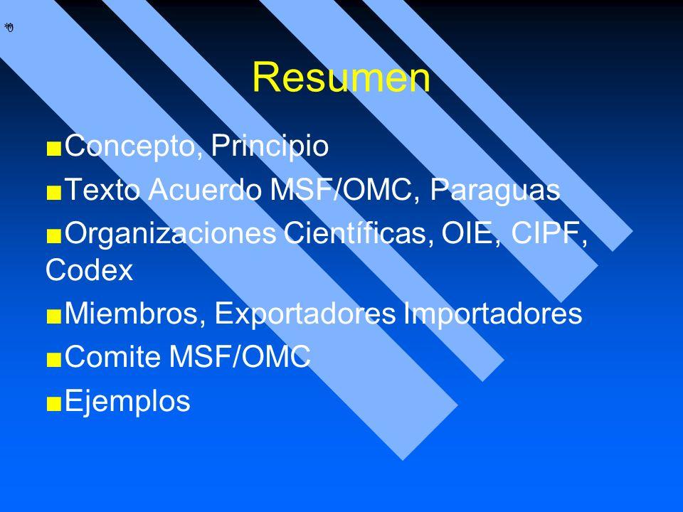 * * 0 Resumen Concepto, Principio Texto Acuerdo MSF/OMC, Paraguas Organizaciones Científicas, OIE, CIPF, Codex Miembros, Exportadores Importadores Com