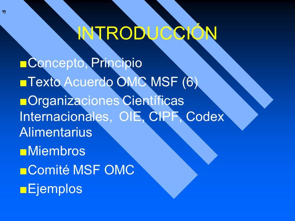 * * 0 INTRODUCCIÓN Concepto, Principio Texto Acuerdo OMC MSF (6) Organizaciones Científicas Internacionales, OIE, CIPF, Codex Alimentarius Miembros Co