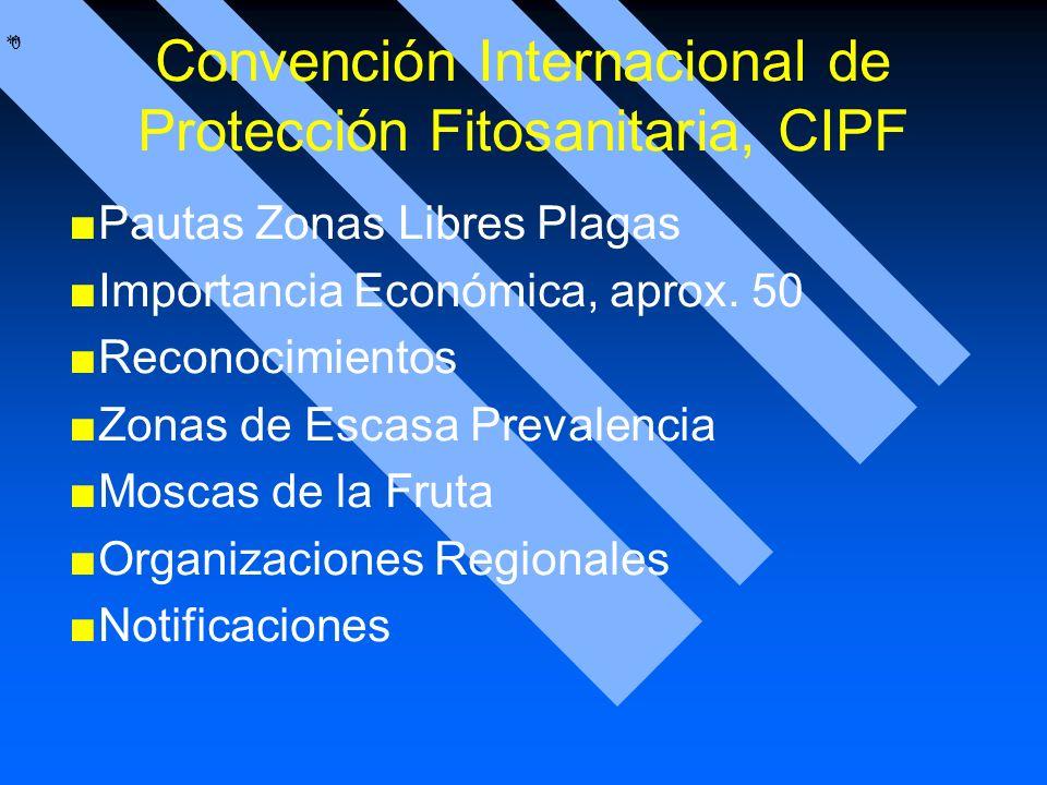 * * 0 Convención Internacional de Protección Fitosanitaria, CIPF Pautas Zonas Libres Plagas Importancia Económica, aprox. 50 Reconocimientos Zonas de