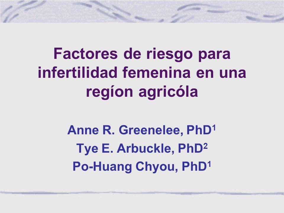 Factores de riesgo para infertilidad femenina en una regíon agricóla Anne R.