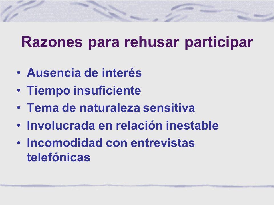 Razones para rehusar participar Ausencia de interés Tiempo insuficiente Tema de naturaleza sensitiva Involucrada en relación inestable Incomodidad con entrevistas telefónicas