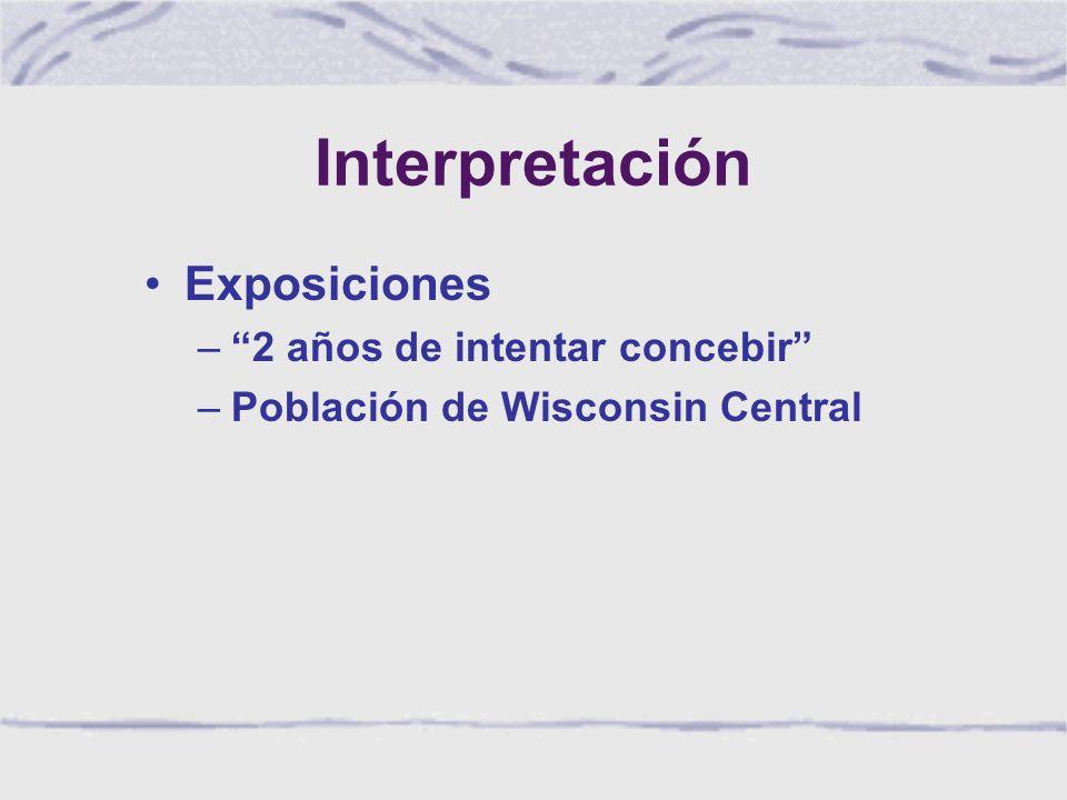 Interpretación Exposiciones –2 años de intentar concebir –Población de Wisconsin Central