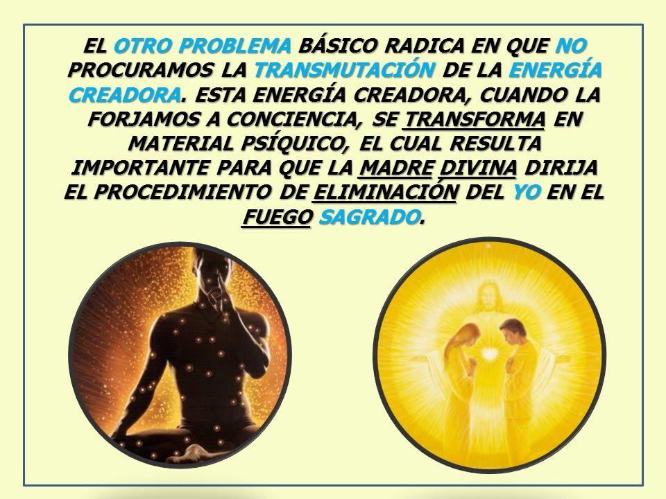EL OTRO PROBLEMA BÁSICO RADICA EN QUE NO PROCURAMOS LA TRANSMUTACIÓN DE LA ENERGÍA CREADORA. ESTA ENERGÍA CREADORA, CUANDO LA FORJAMOS A CONCIENCIA, S