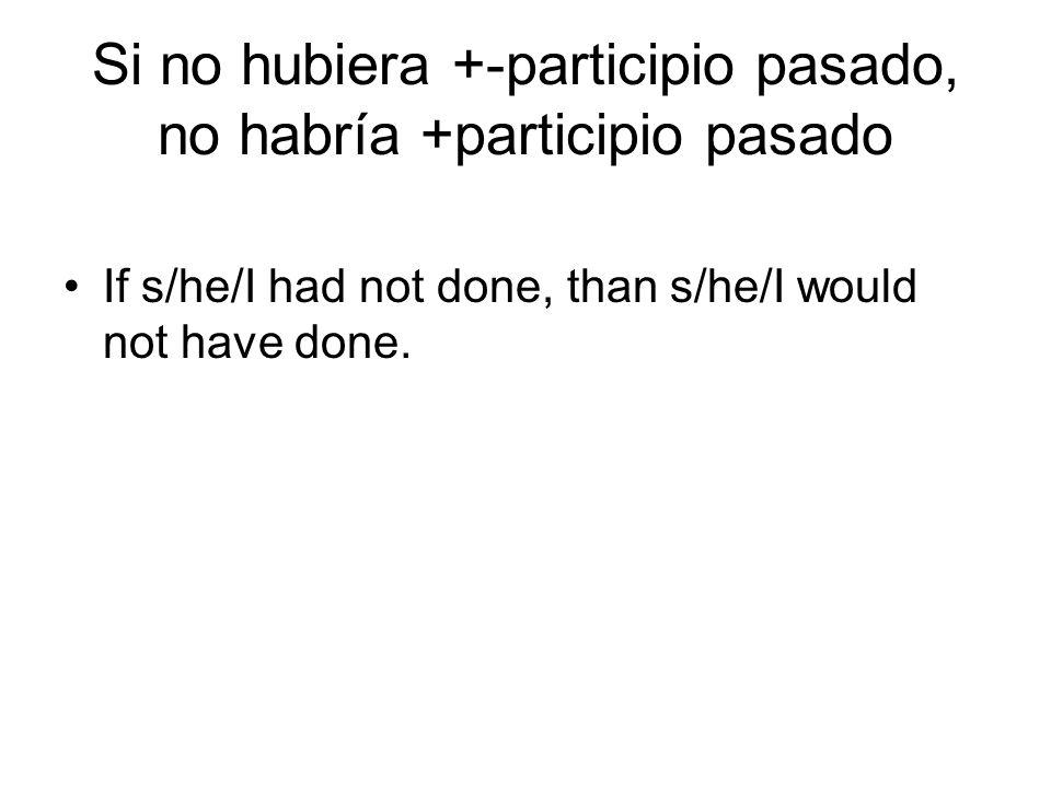If s/he/I had not done, than s/he/I would not have done. Si no hubiera +-participio pasado, no habría +participio pasado
