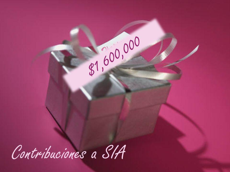 $1,600,000 Contribuciones a SIA
