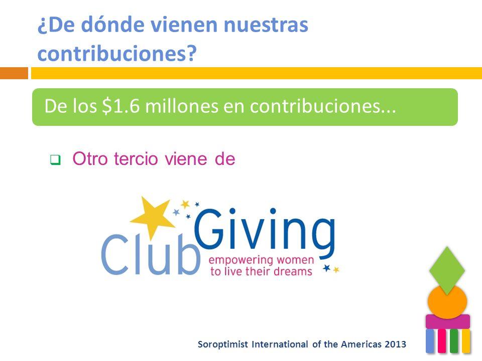 ¿De dónde vienen nuestras contribuciones? De los $1.6 millones en contribuciones... Otro tercio viene de Soroptimist International of the Americas 201