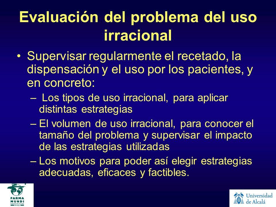 Evaluación del problema del uso irracional Supervisar regularmente el recetado, la dispensación y el uso por los pacientes, y en concreto: – Los tipos