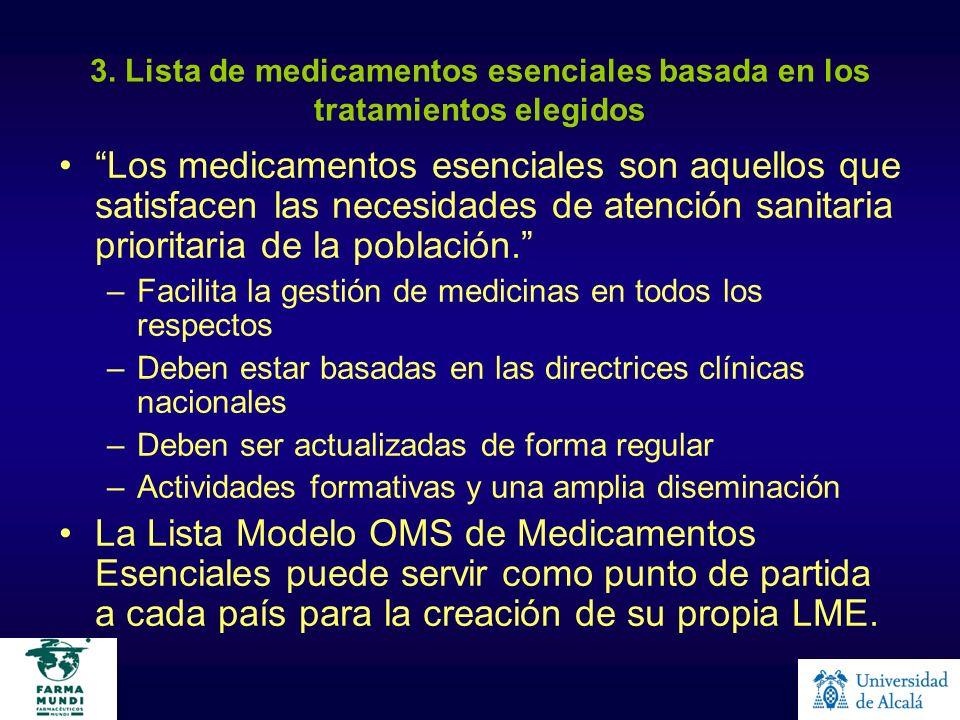 3. Lista de medicamentos esenciales basada en los tratamientos elegidos Los medicamentos esenciales son aquellos que satisfacen las necesidades de ate