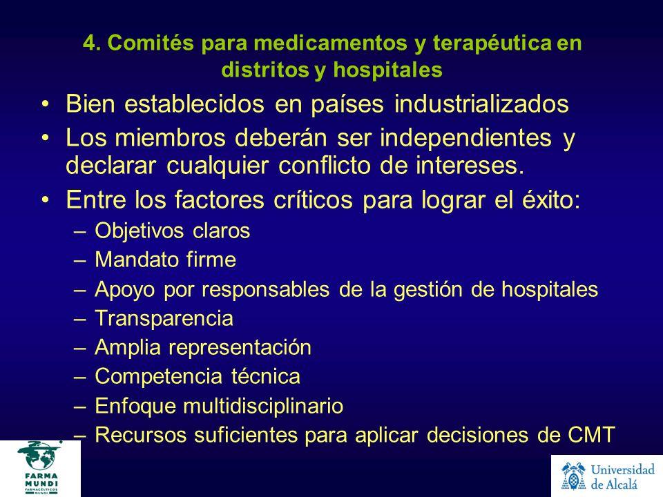 4. Comités para medicamentos y terapéutica en distritos y hospitales Bien establecidos en países industrializados Los miembros deberán ser independien