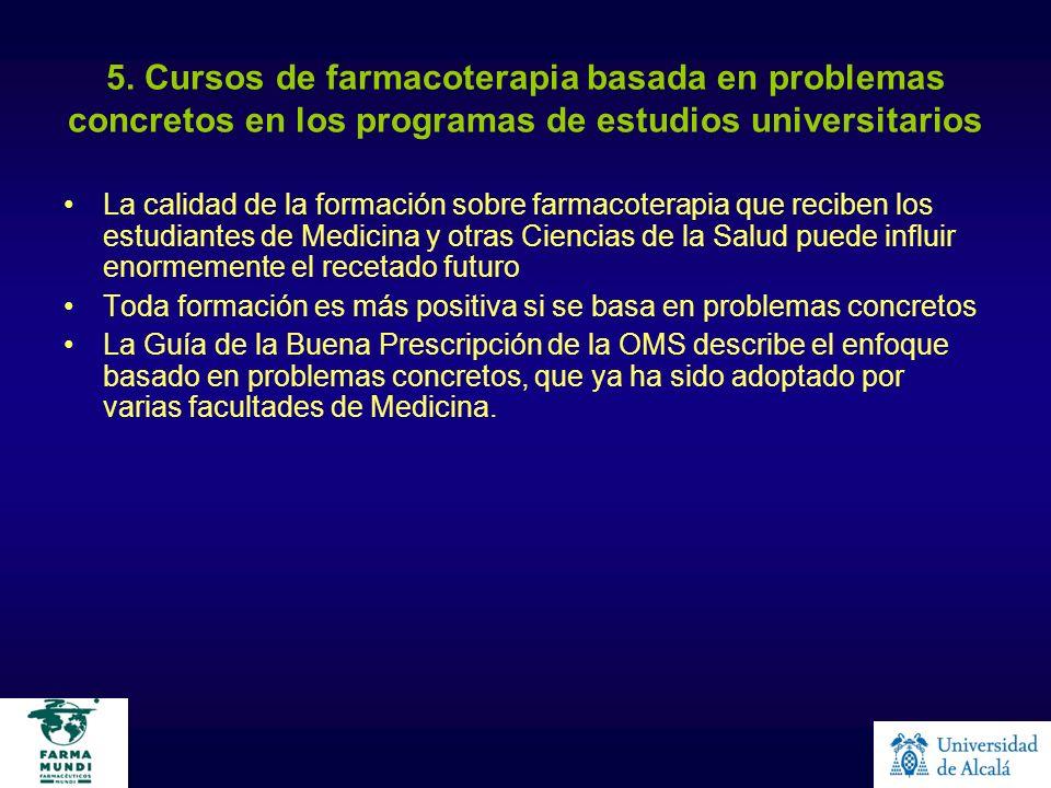 5. Cursos de farmacoterapia basada en problemas concretos en los programas de estudios universitarios La calidad de la formación sobre farmacoterapia